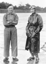 Gwenda Hawkes (Stewart) & Elsie Wisdom stood trackside at  Brooklands early 1930s